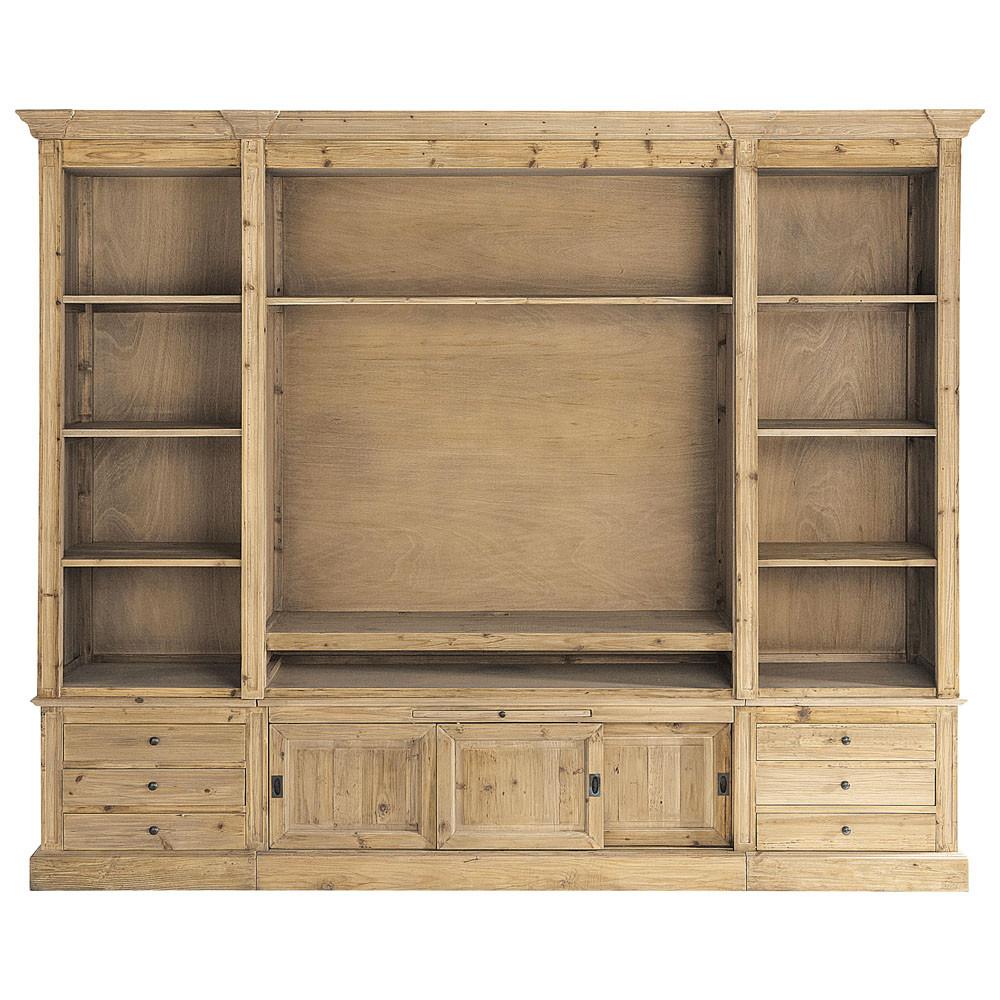 Mueble de sal n librer a de madera maciza reciclada an for Mueble libreria salon