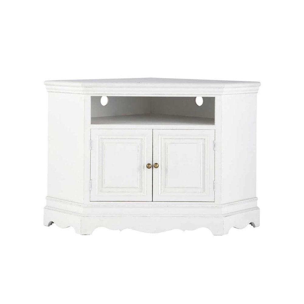 Mueble de tv blanco esquinero de madera de paulonia an for Mueble modular blanco