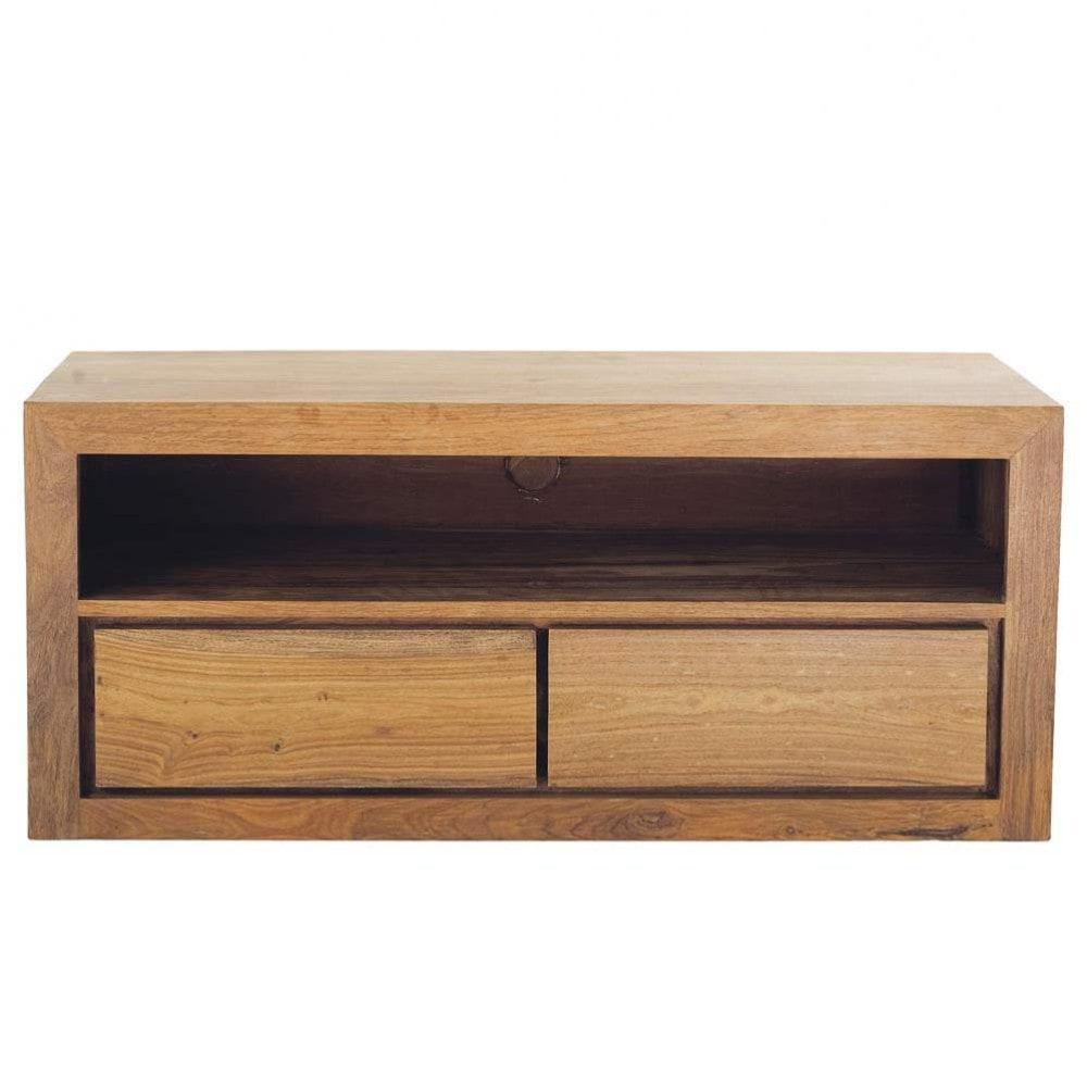 Mueble de tv con 2 cajones de madera maciza de palo rosa for Muebles con cajones de madera