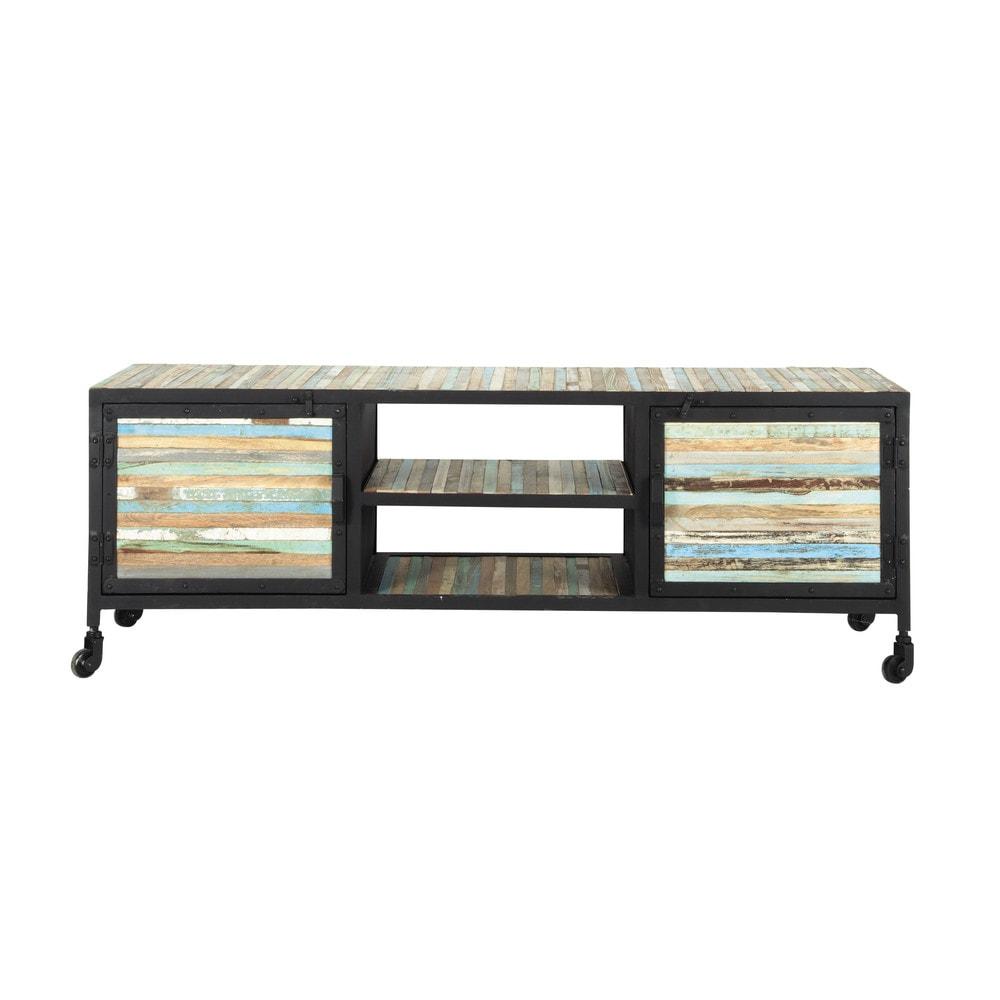 Mueble de tv con ruedas de metal y madera negro an 140 cm for Mueble tv con ruedas