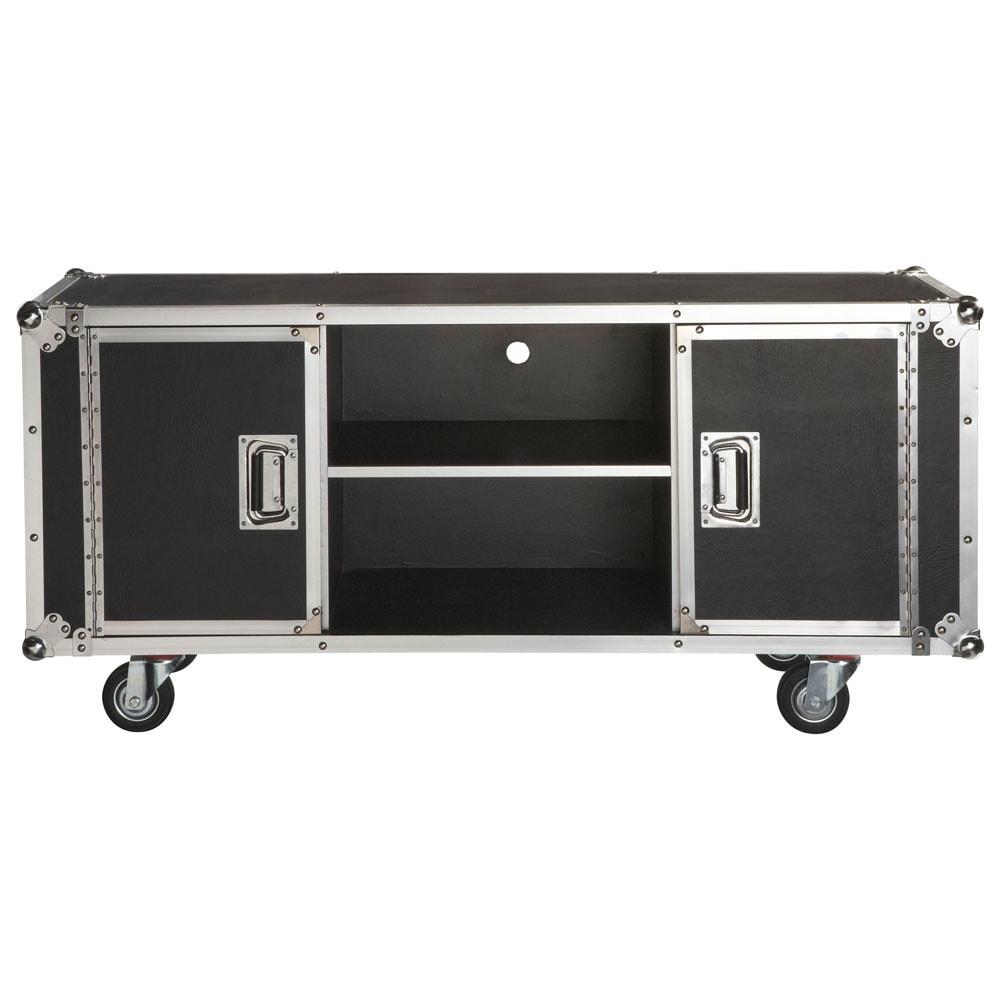 Mueble de tv con ruedas de tejido revestido an 130 cm - Mueble tv maison du monde ...