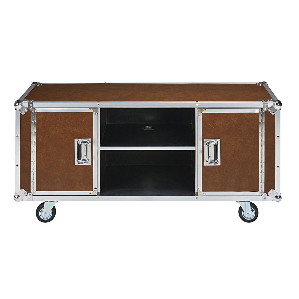 Mueble de tv con ruedas de textil engomado camel cinema for Mueble tv con ruedas