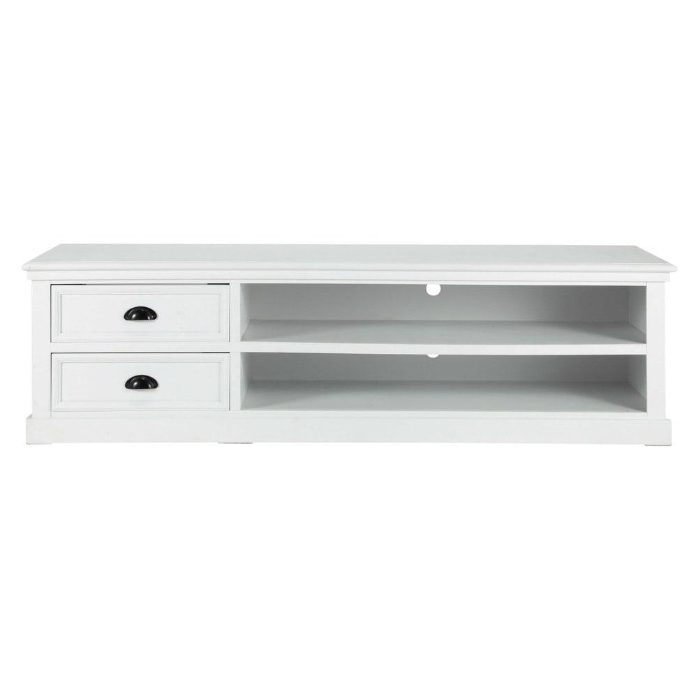 Mueble de tv de madera blanca an 160 cm newport maisons for Mueble tv 100 cm