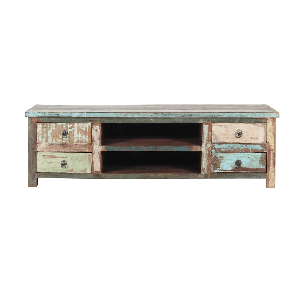 Mueble de tv de madera reciclada efecto envejecido an 140 for Maison du monde mueble tv