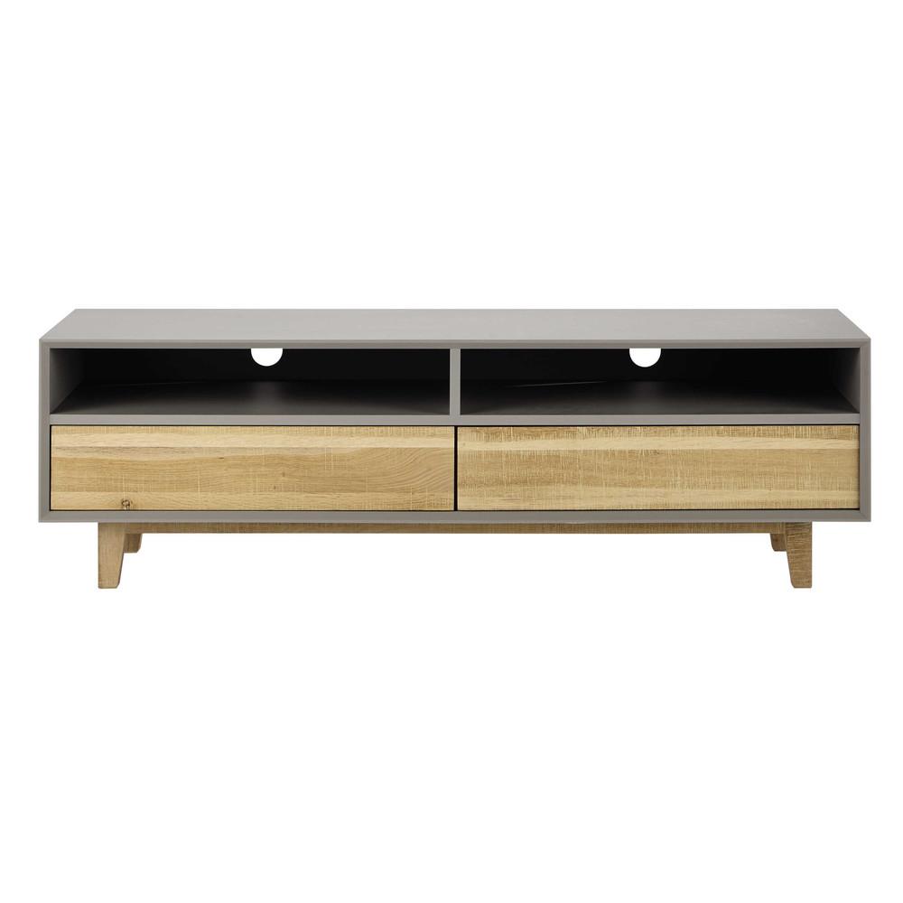 Mueble de tv de roble gris an 150 cm vermont maisons du for Mueble tv 100 cm
