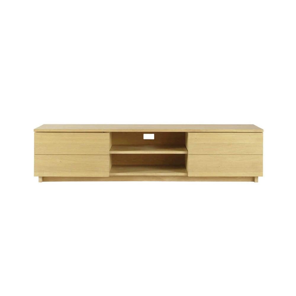 Mueble de tv de roble macizo an 180 cm hambourg maisons for Mueble salon 180 cm