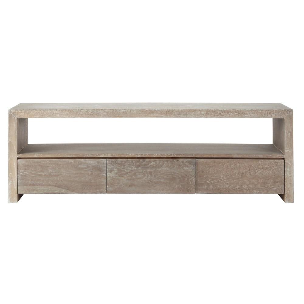 Mueble de tv de roble macizo gris an 160 cm baltic - Mueble tv maison du monde ...