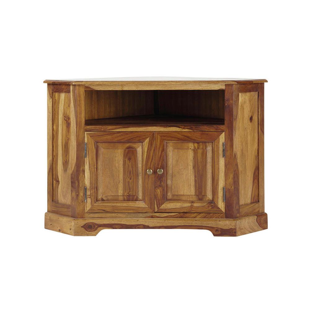 Mueble de tv esquinero de madera maciza de palo rosa an for Mueble esquinero para pc