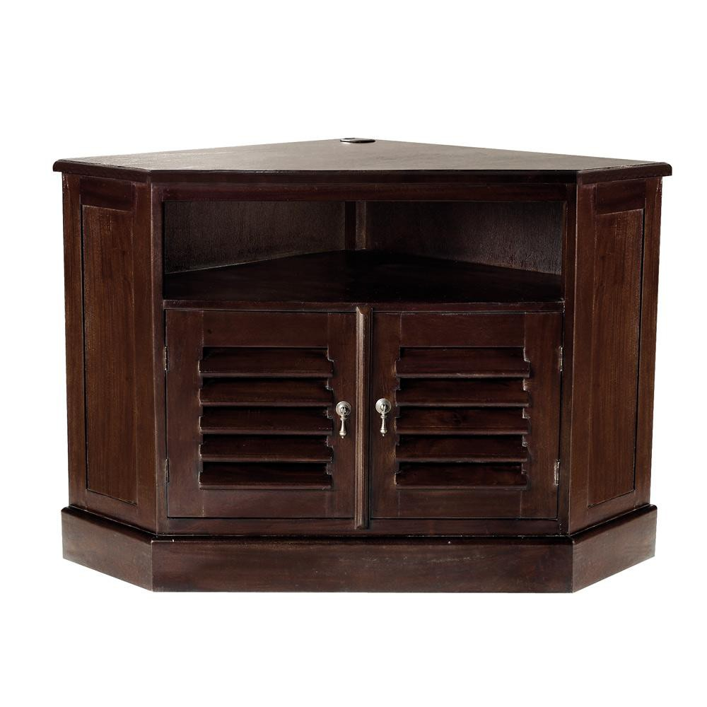 Mueble de tv esquinero de madera maciza de palo rosa an for Muebles de madera para tv