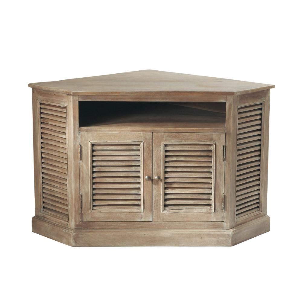 Mueble de tv esquinero de mango gris an 75 cm persiennes for Muebles maison du monde segunda mano