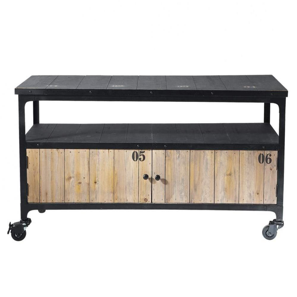 Mueble de tv industrial negro con ruedas de metal y madera for Mueble tv negro
