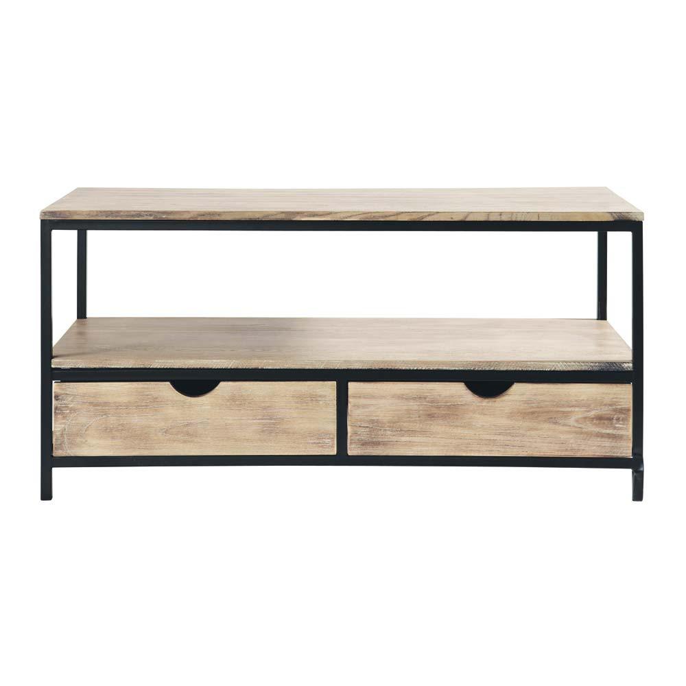 Mueble de tv industrial negro de metal y madera maciza an for Mueble tv negro
