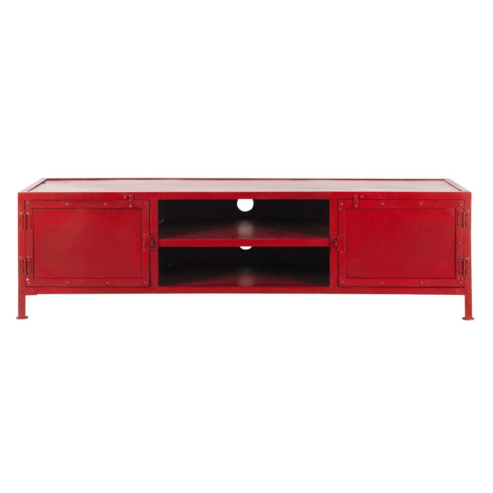 Mueble de TV industrial rojo de metal An 150 cm Edison  Maisons du