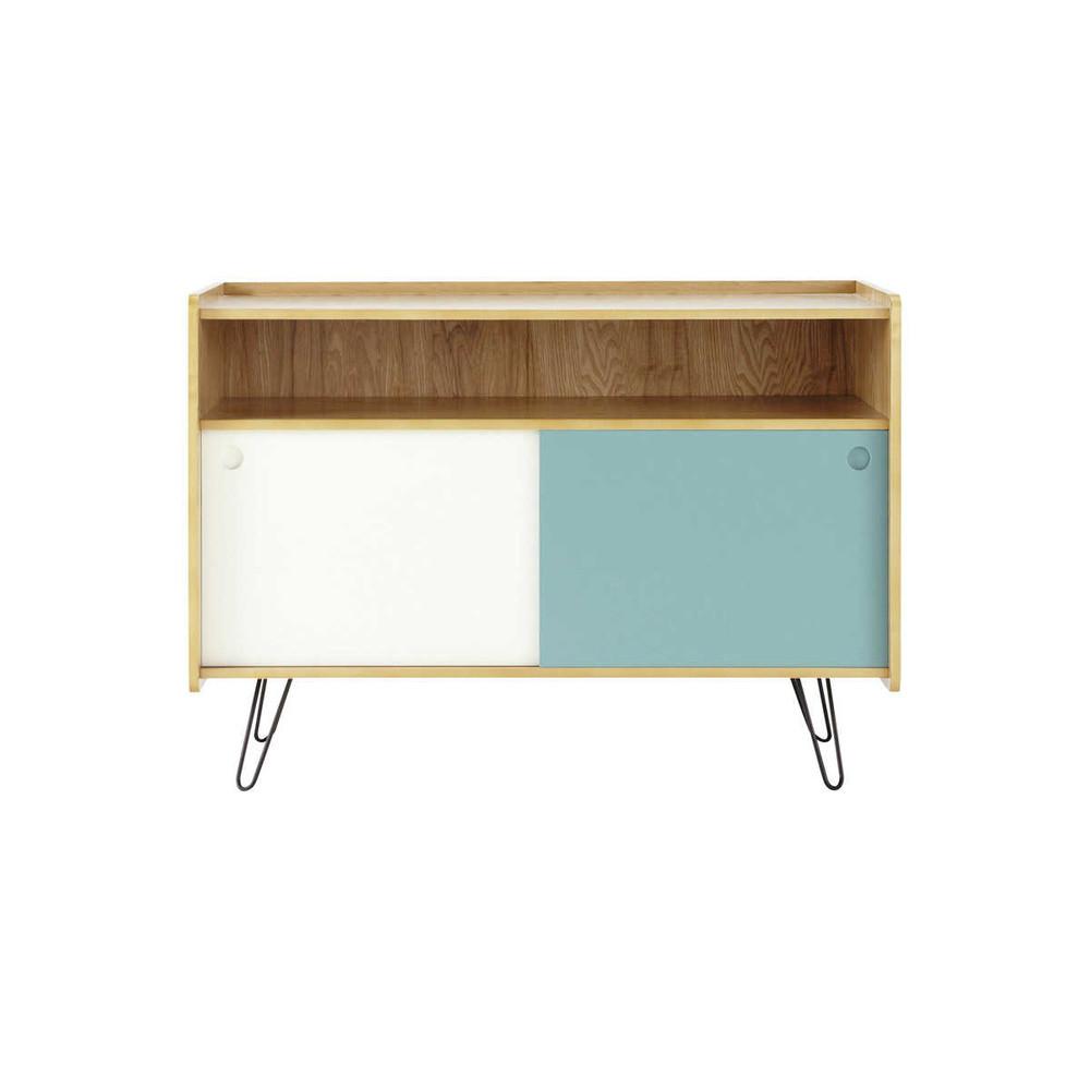 mueble de tv vintage blanco y azul de madera an cm