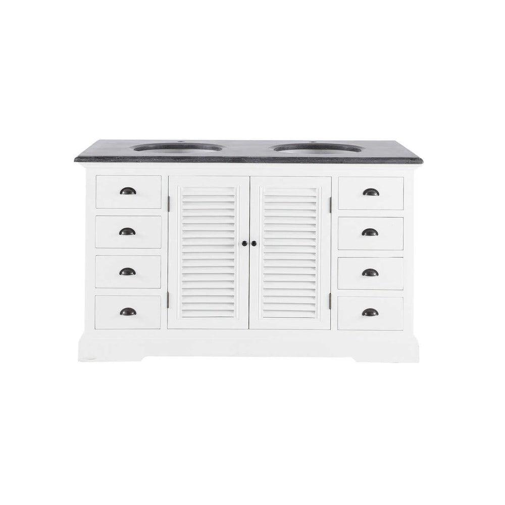 Mueble doble seno de madera y cer mica an 148 cm edenton for Mueble bano doble seno