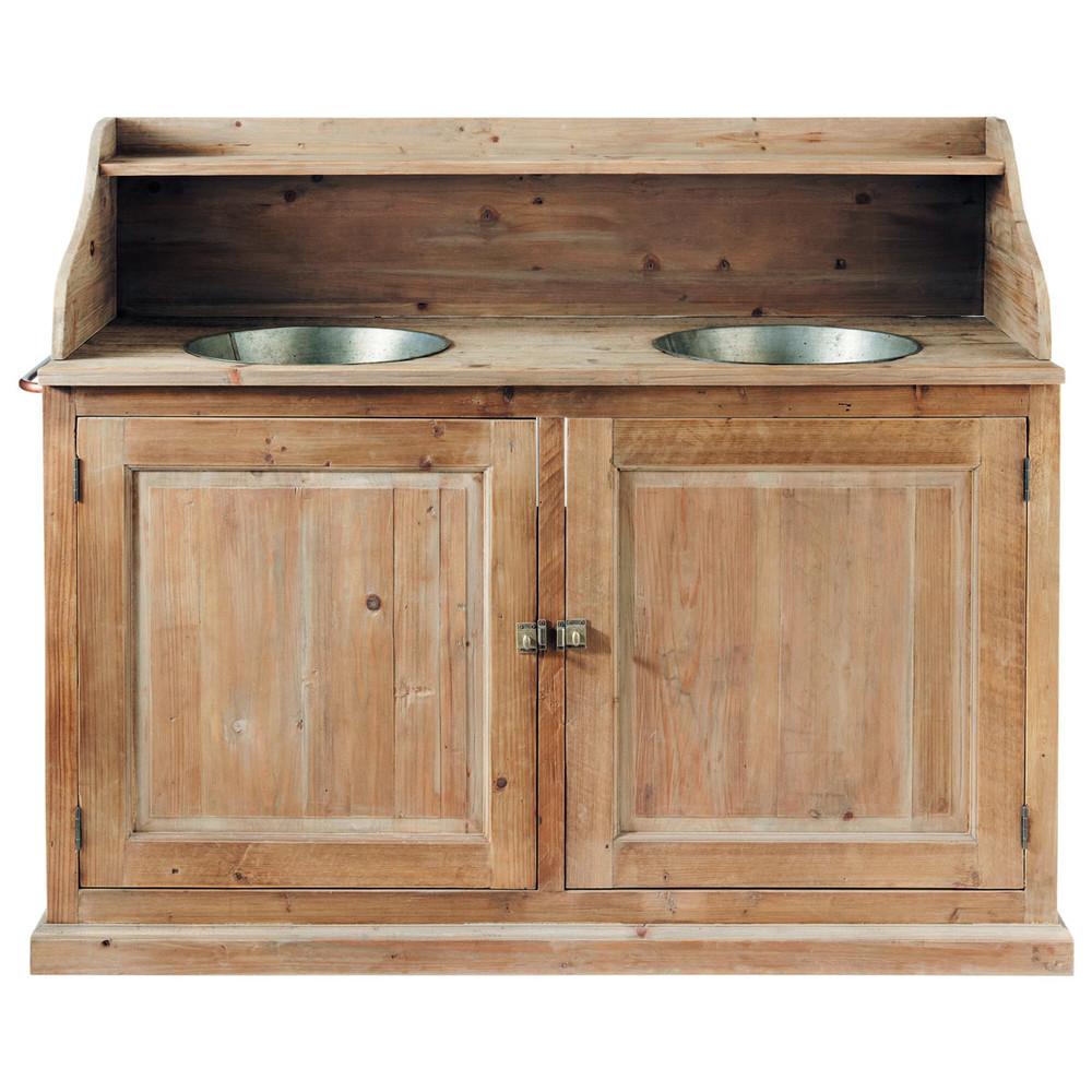 Mueble doble seno de madera y zinc efecto envejecido an for Mueble bano doble seno