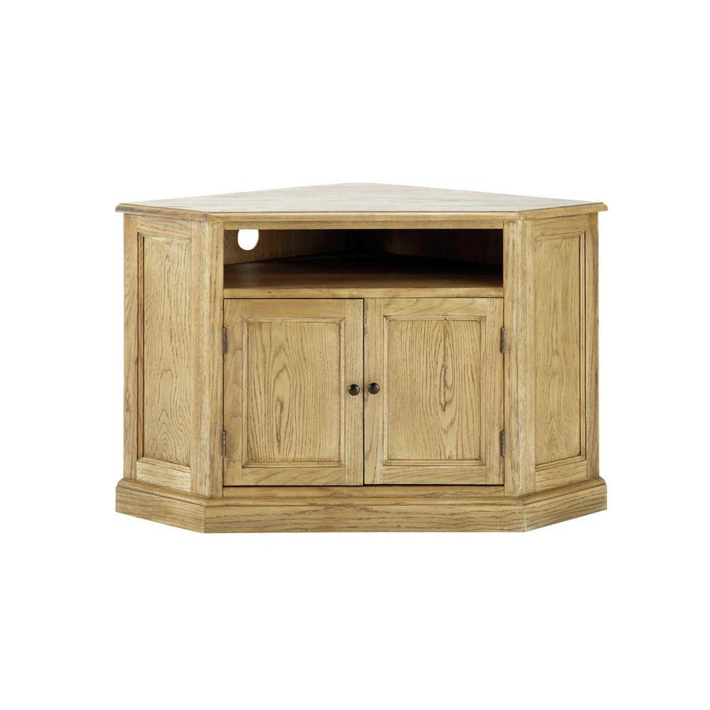 Mueble tv esquinero de madera de roble atelier atelier for Maison du monde mueble tv