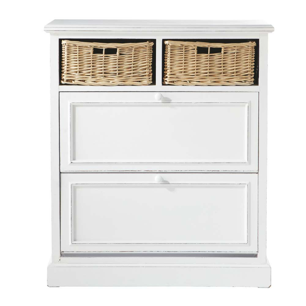 Mueble zapatero blanco an 80 cm cottage maisons du monde for Mueble zapatero pequeno