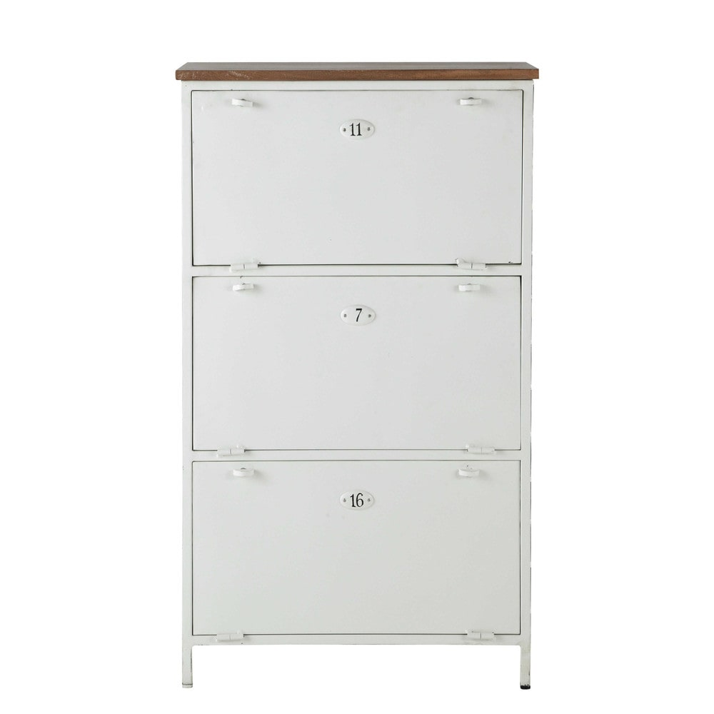 Mueble zapatero de metal y mango blanco an 72 cm copernic for Zapatero conforama