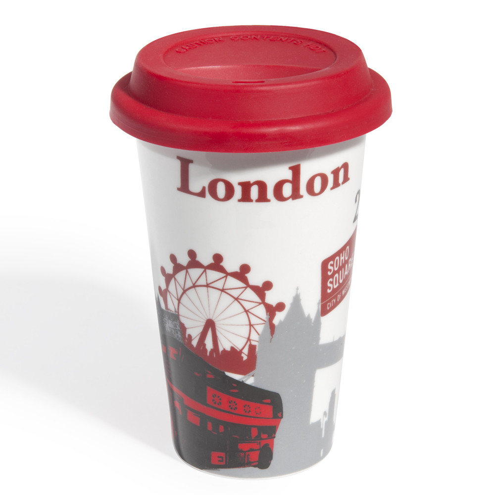 mug de voyage en porcelaine rouge london cities maisons. Black Bedroom Furniture Sets. Home Design Ideas