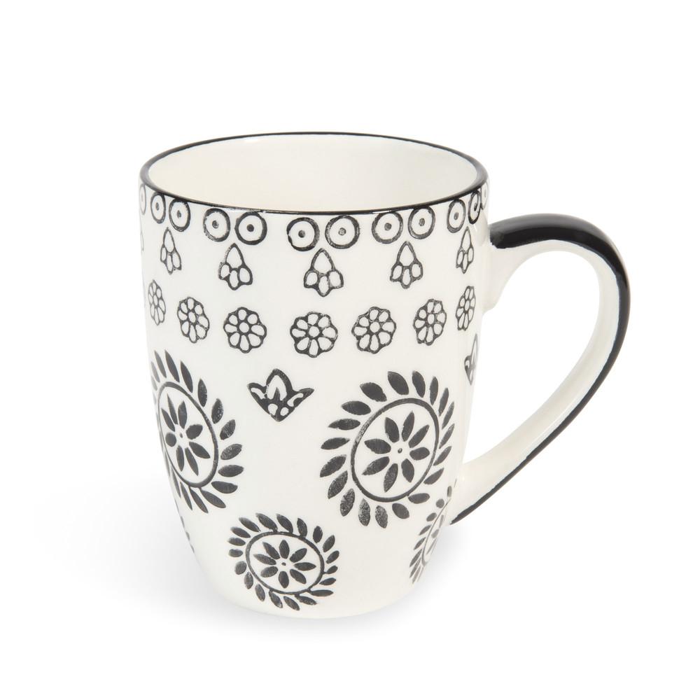 mug en fa ence noir blanc chiang mai maisons du monde. Black Bedroom Furniture Sets. Home Design Ideas