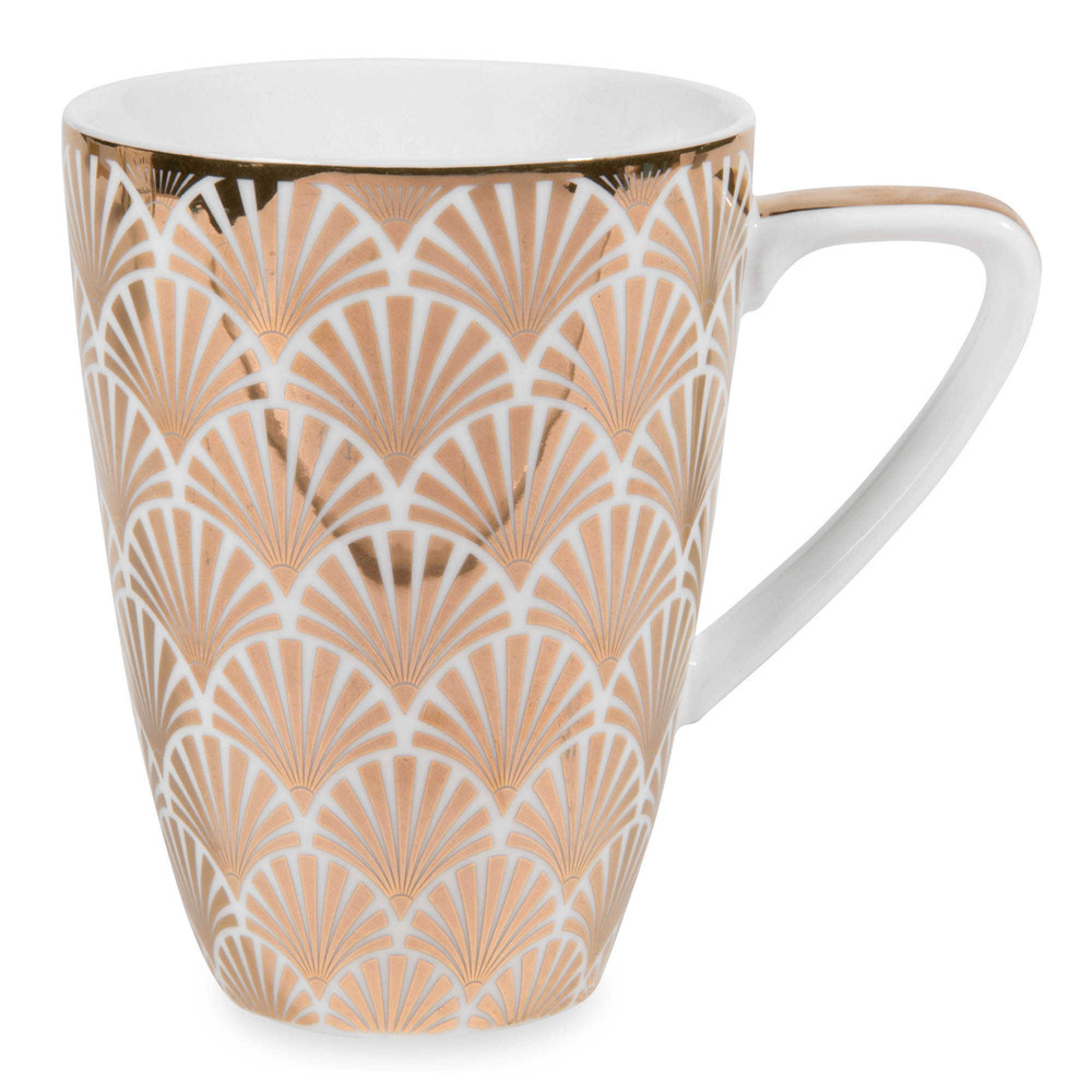 mug en porcelaine blanche dor e art d co maisons du monde. Black Bedroom Furniture Sets. Home Design Ideas