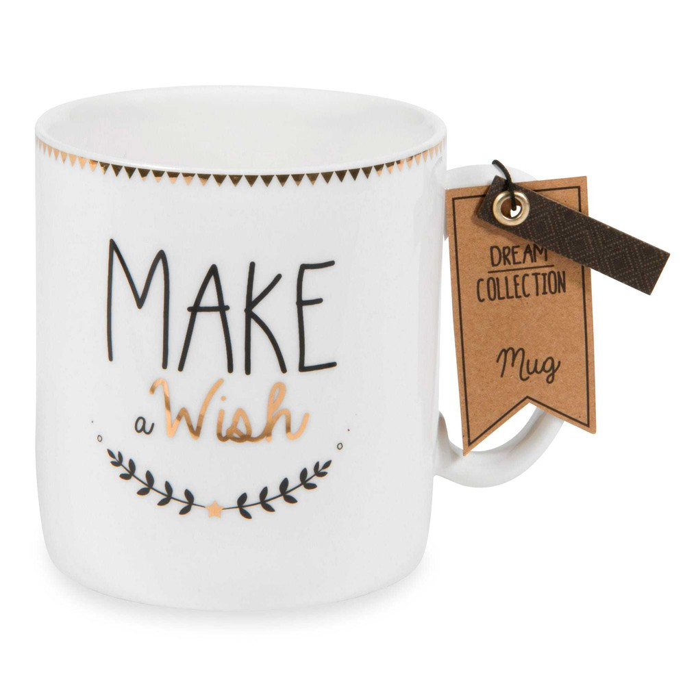 mug en porcelaine make a wish pan maisons du monde. Black Bedroom Furniture Sets. Home Design Ideas