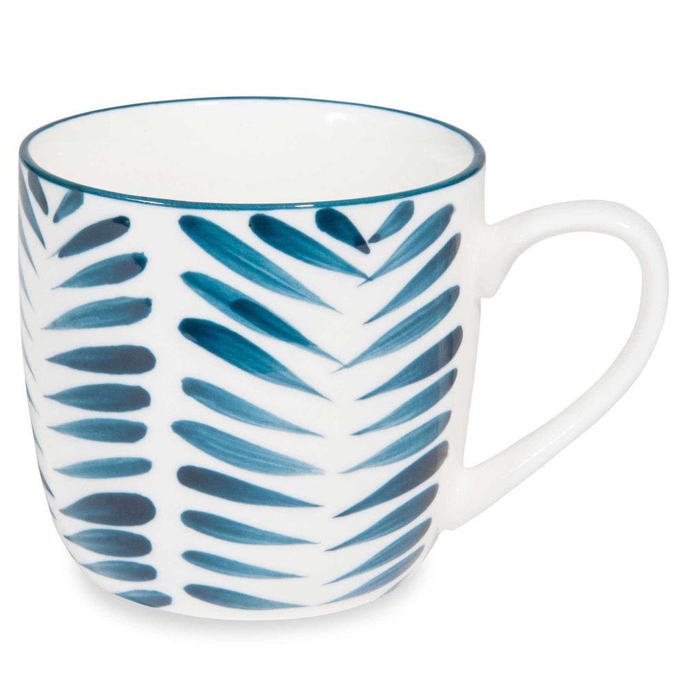 mug en porcelaine motifs feuilles bleues escale maisons du monde. Black Bedroom Furniture Sets. Home Design Ideas