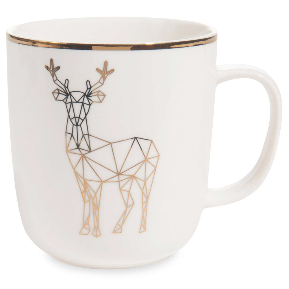 mug motif cerf en porcelaine maisons du monde. Black Bedroom Furniture Sets. Home Design Ideas