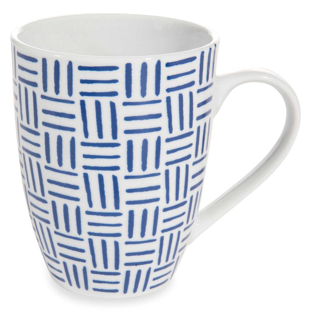 mug motif traits bleus en porcelaine mykonos maisons du monde. Black Bedroom Furniture Sets. Home Design Ideas