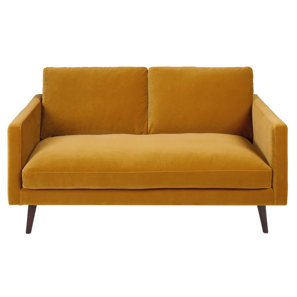 Mustard Yellow Velvet Sofa Hereo Sofa