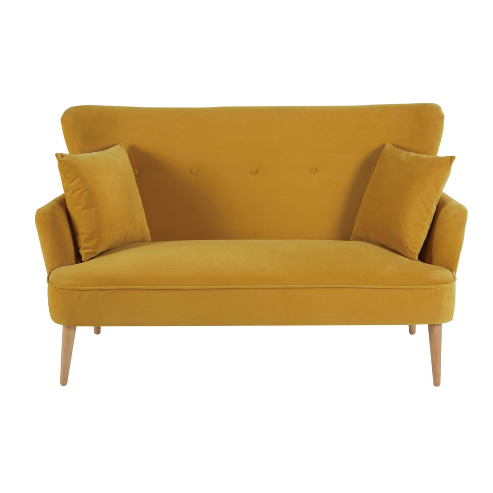 Mustard yellow 2 seater velvet sofa leon maisons du monde for Divan and settee