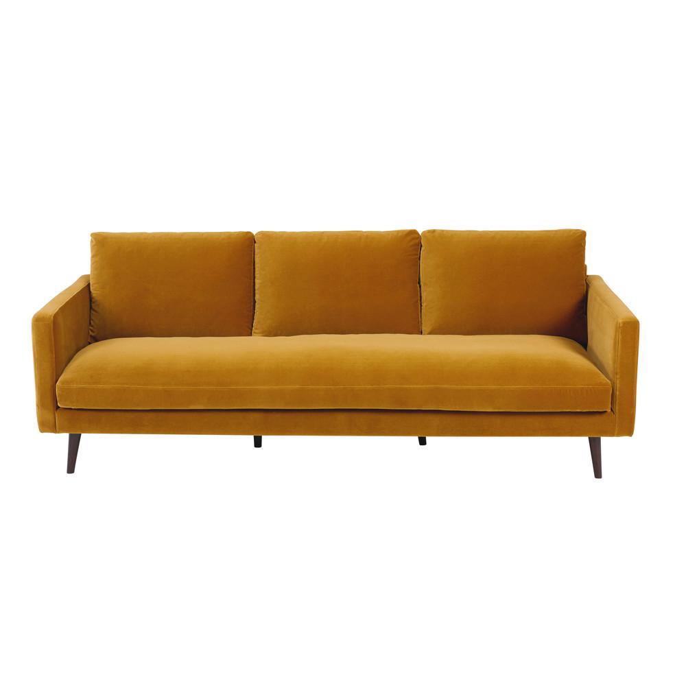 mustard yellow 4 seater velvet sofa kant maisons du monde. Black Bedroom Furniture Sets. Home Design Ideas