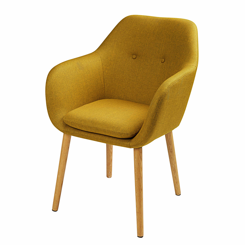 mustard yellow fabric armchair arnold maisons du monde. Black Bedroom Furniture Sets. Home Design Ideas