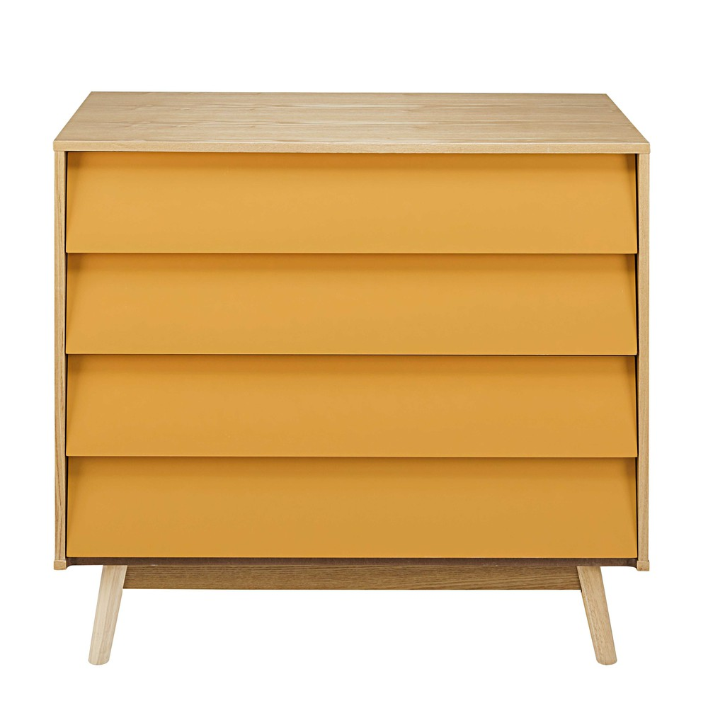 mustard yellow vintage 4 drawer chest fjord maisons du monde. Black Bedroom Furniture Sets. Home Design Ideas