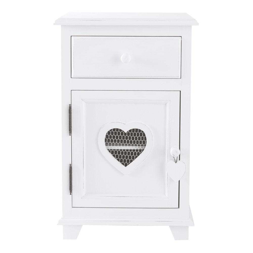 Nachttisch Aus Holz Mit Schublade, B 40 Cm, Weiß Valentine .