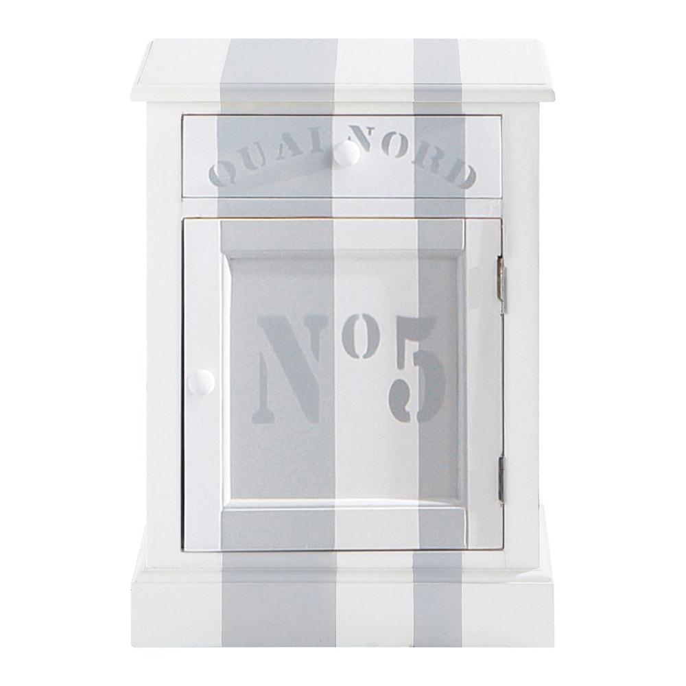 nachttisch aus holz mit schublade b 45 cm wei quai nord. Black Bedroom Furniture Sets. Home Design Ideas