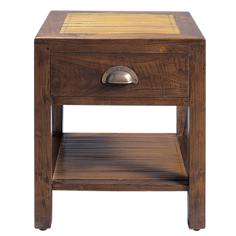 Nachttisch aus massivem teakholz mit schublade b 40 cm - Table de chevet bambou ...