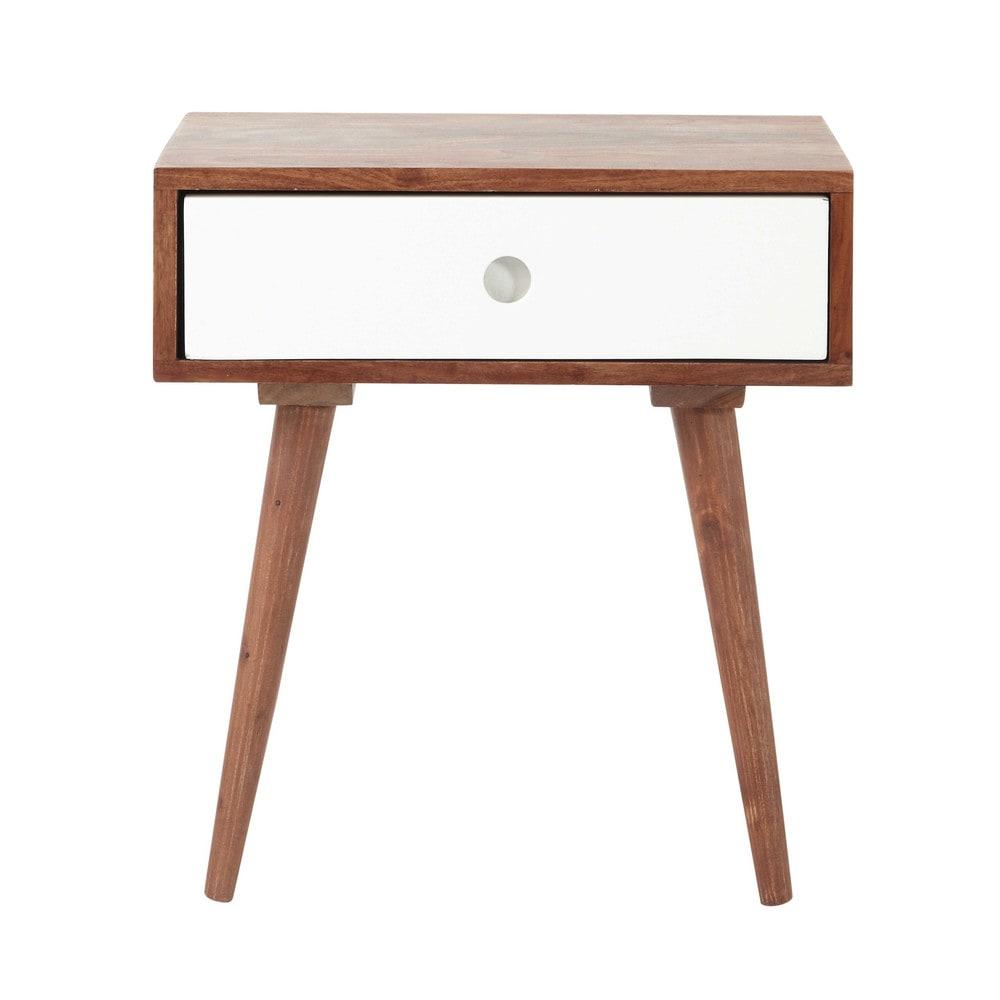 Nachttisch mit schublade  Nachttisch im Vintage-Stil aus massivem Sheesham-Holz mit ...