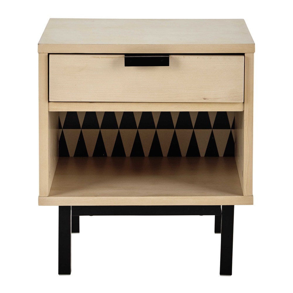 nachttisch mit schublade b 43 cm graphik maisons du monde. Black Bedroom Furniture Sets. Home Design Ideas