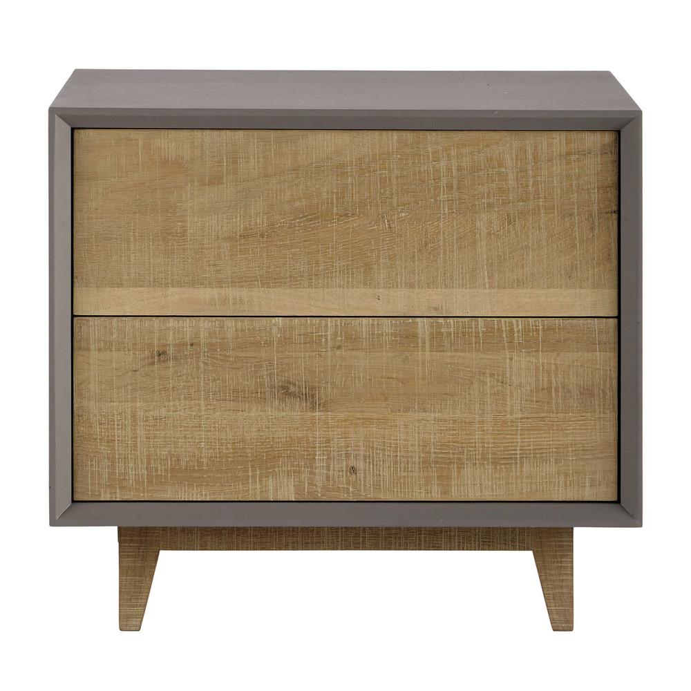 nachttisch mit schublade b 50 cm grau vermont maisons du monde. Black Bedroom Furniture Sets. Home Design Ideas