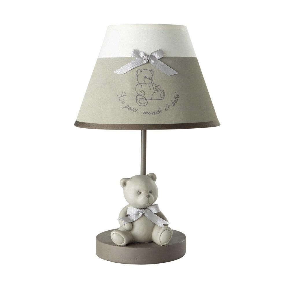 nachttischlampe ourson aus harz mit lampenschirm aus. Black Bedroom Furniture Sets. Home Design Ideas