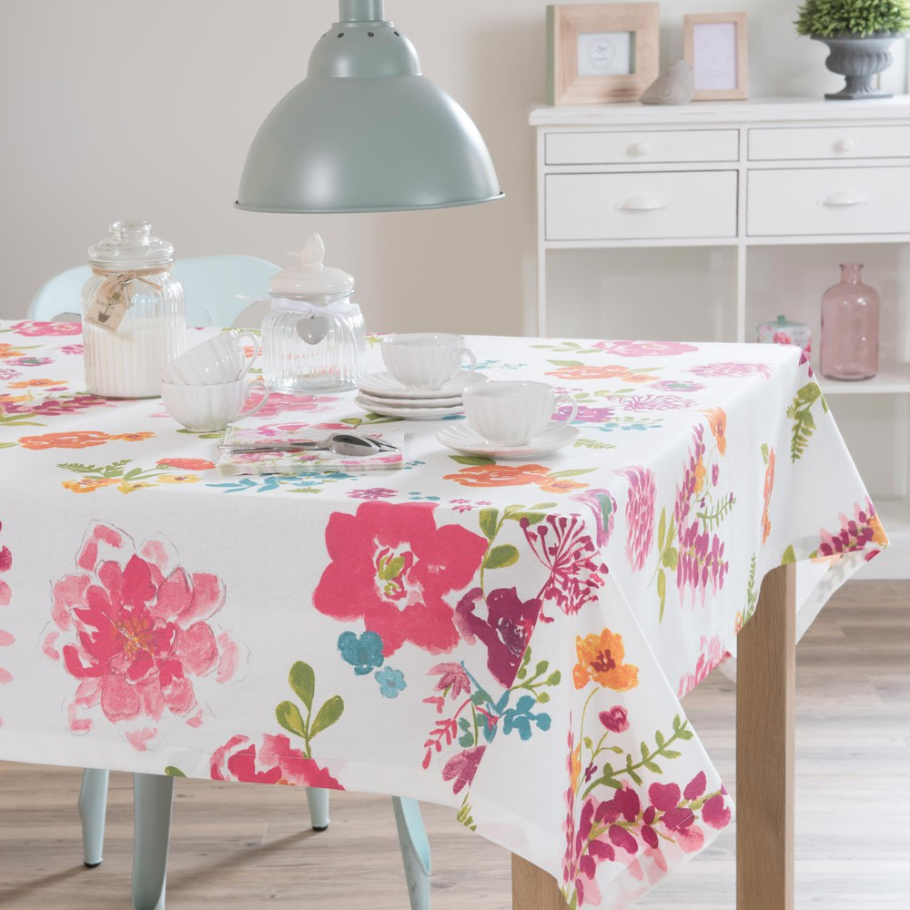 Nappe carr e fleurs en coton 150 x 150 cm helena for Table carree 150 x 150