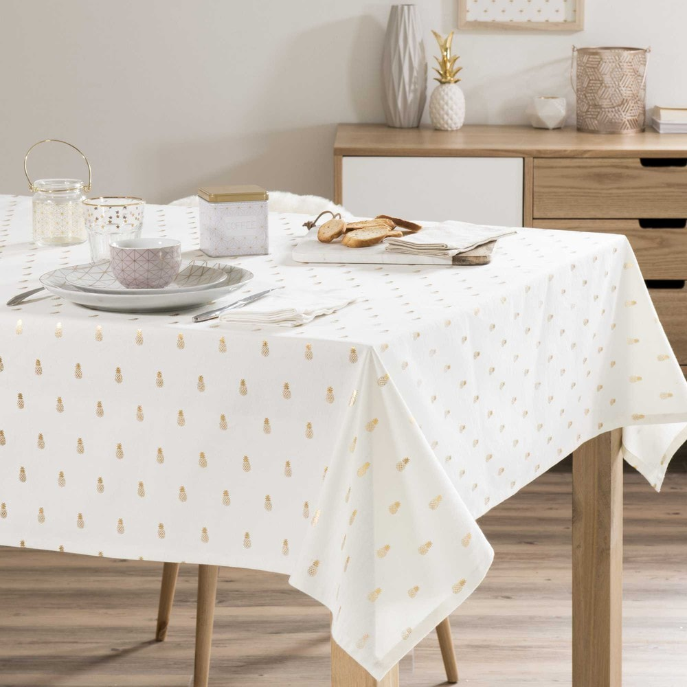 nappe carr e motif ananas en coton 150 x 150 cm gold. Black Bedroom Furniture Sets. Home Design Ideas