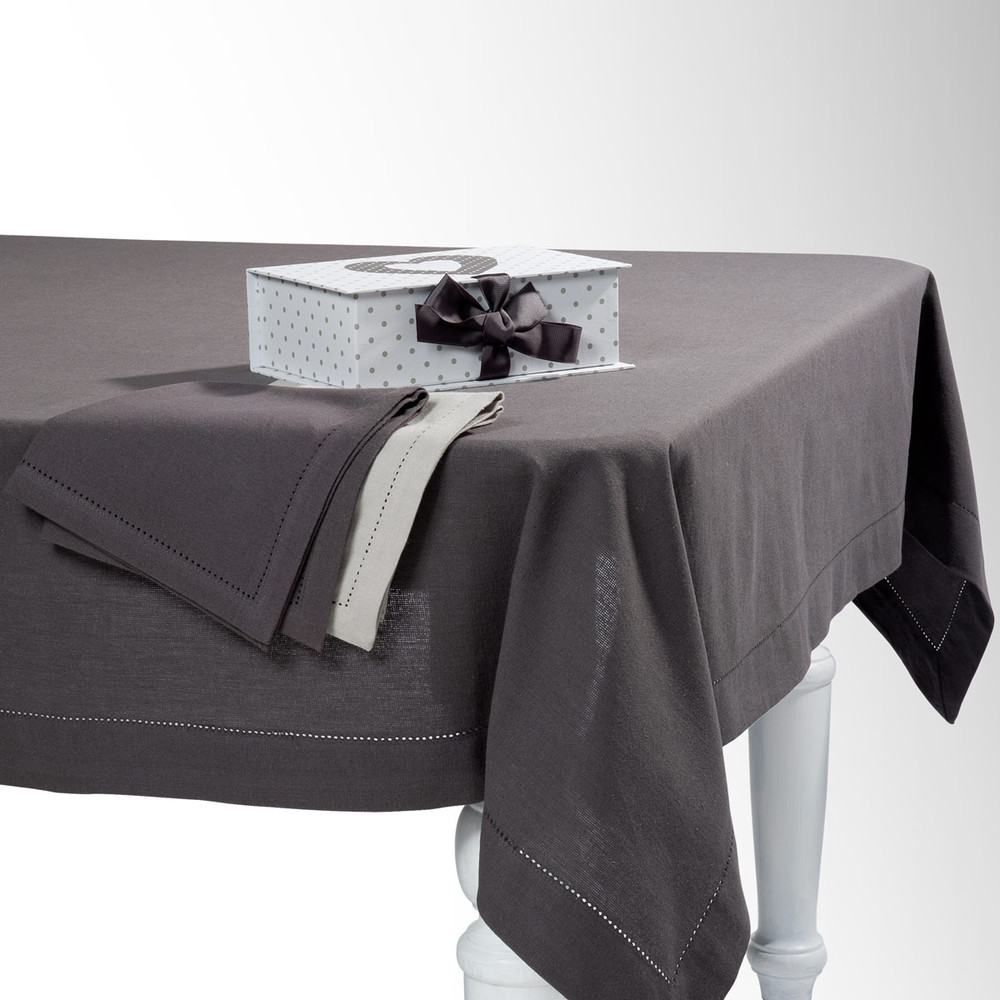 nappe carr e unie en coton gris anthracite 170 x 170 cm. Black Bedroom Furniture Sets. Home Design Ideas