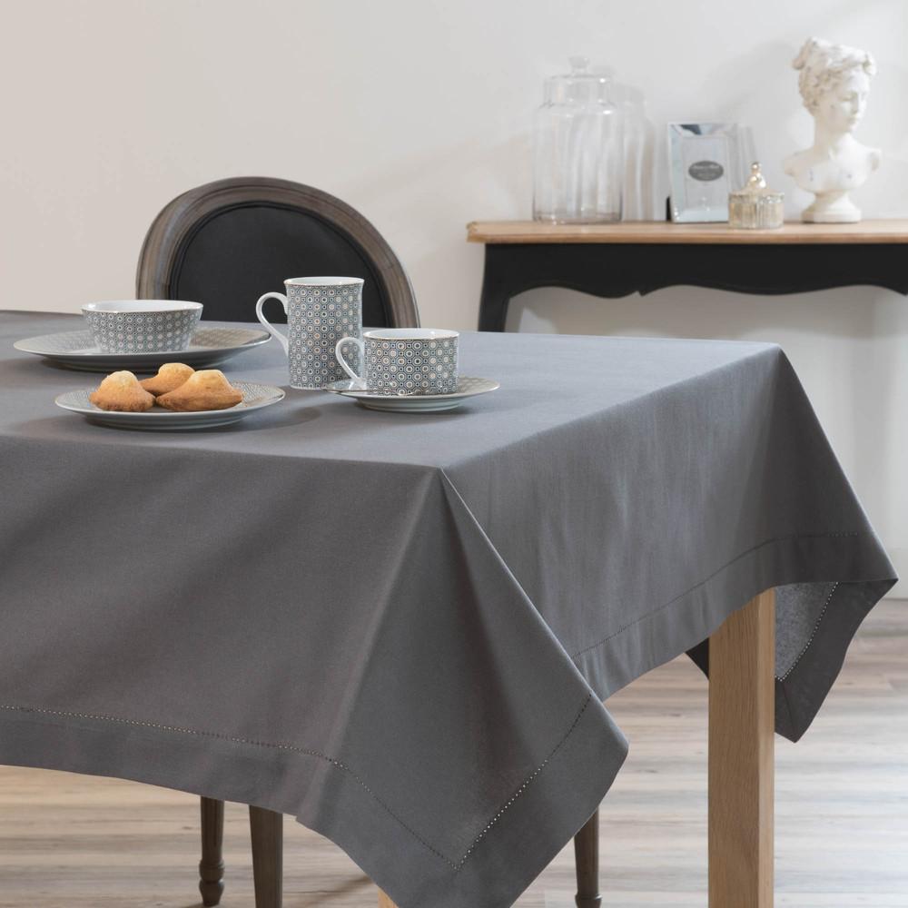 nappe carr e unie en coton gris anthracite 170 x 170 cm maisons du monde. Black Bedroom Furniture Sets. Home Design Ideas