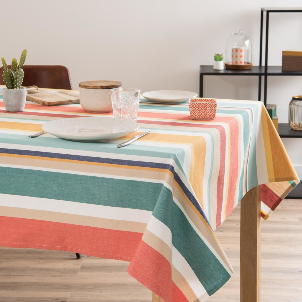 nappe en coton rayures multicolores 150x350cm sandiego. Black Bedroom Furniture Sets. Home Design Ideas