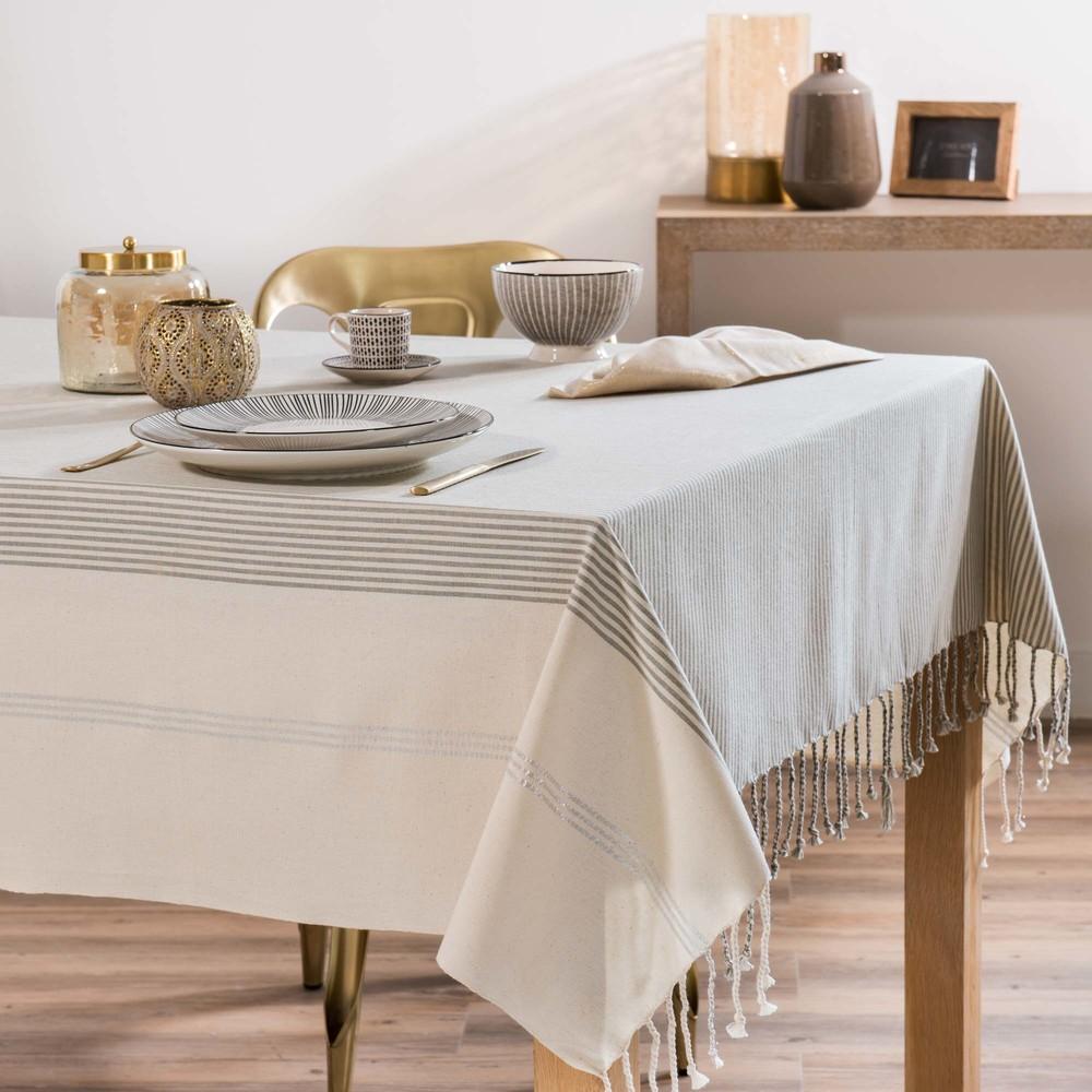 nappe en coton beige rayures 150x250 maisons du monde. Black Bedroom Furniture Sets. Home Design Ideas
