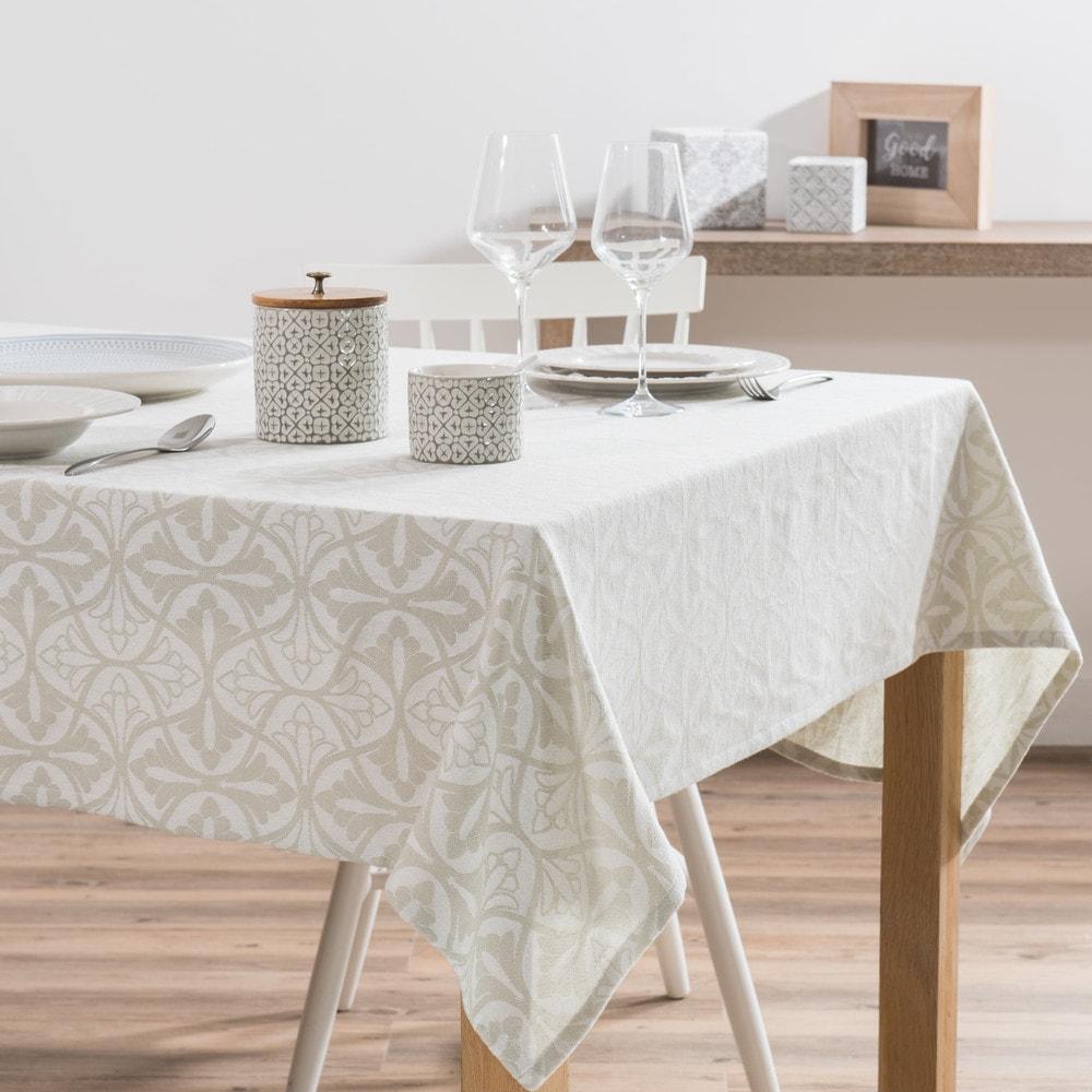 nappe en coton beige motifs jacquard 150x250 maisons du monde. Black Bedroom Furniture Sets. Home Design Ideas