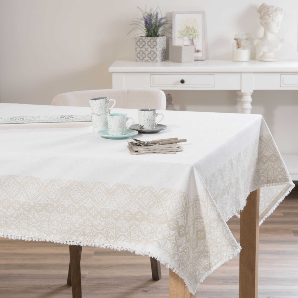 nappe en coton blanche 150 x 250 cm pise maisons du monde. Black Bedroom Furniture Sets. Home Design Ideas